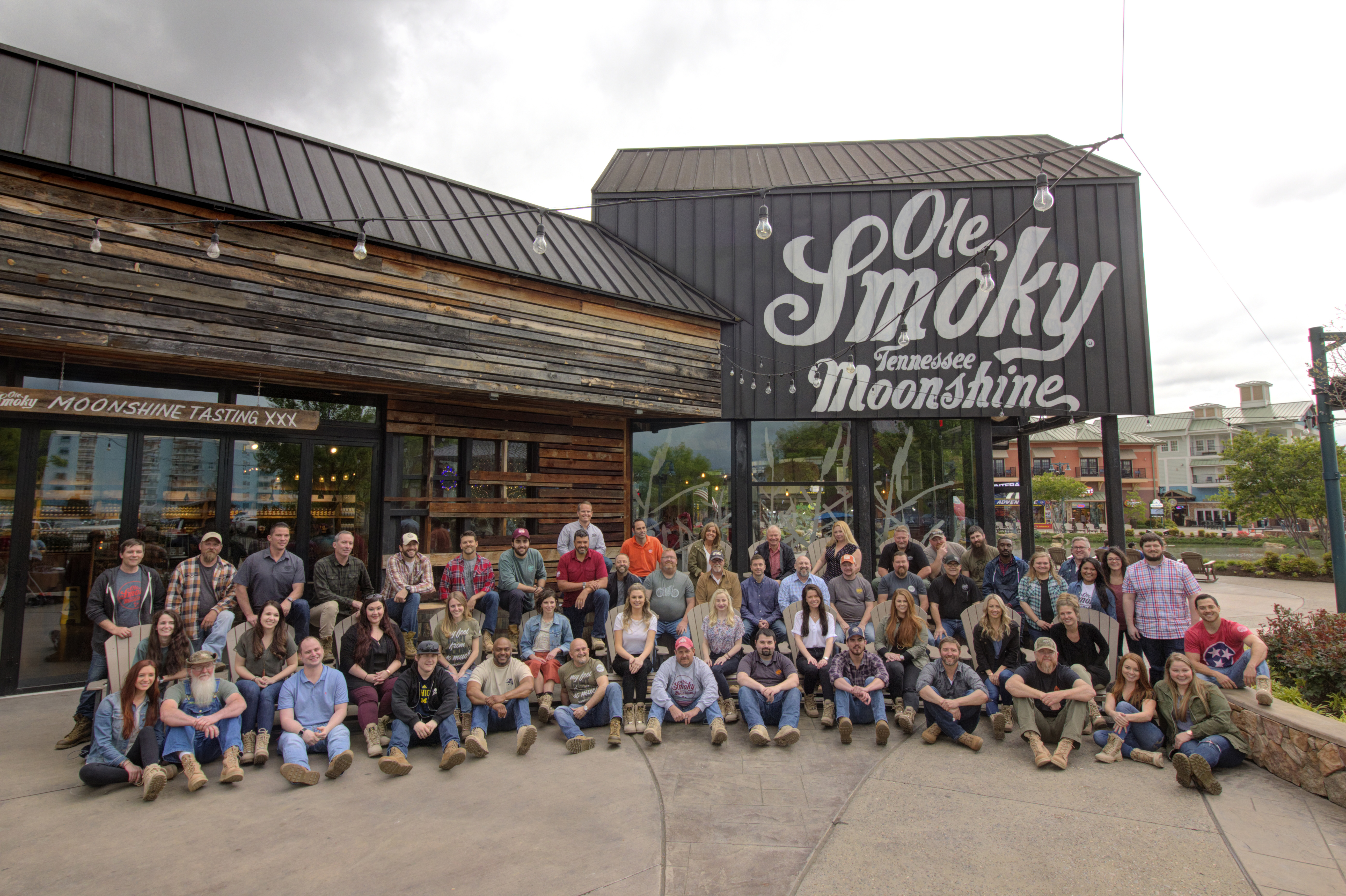 Photo of Ole Smoky team in Gatlinburg, Tennessee laced up and ready to support Boot Campaign