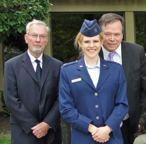 Photo: Elizabeth Stevens with WWII Army Veteran and grandfather Paul Sherron and father Jeff Stevens.